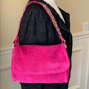 Bright pink suede hand bag